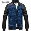 2017 новый бренд мужской PU кожаная куртка мотоцикла Молодая весна осень случайные тенденции мужской мотоциклетная куртка шить
