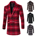 2017 New Fashion Trench Coat Men Long Coat Winter Famous Brand Plaid high quality Mens Overcoat Single Breasted Slim Men Trench