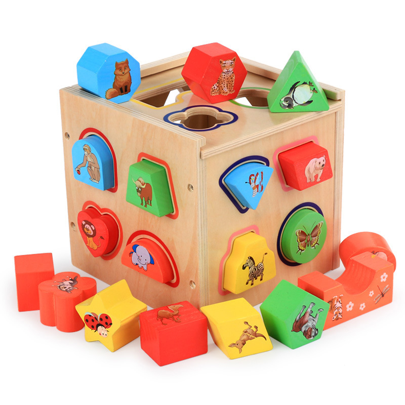CUTEBEE Wooden Toys for Children Montessori Toy Puzzle Cube Educational 19 Holes Shape Sorter for Kids Baby Toys cutebee wooden toys for children montessori toy pretend cube educational color tool repair box for kids baby toys