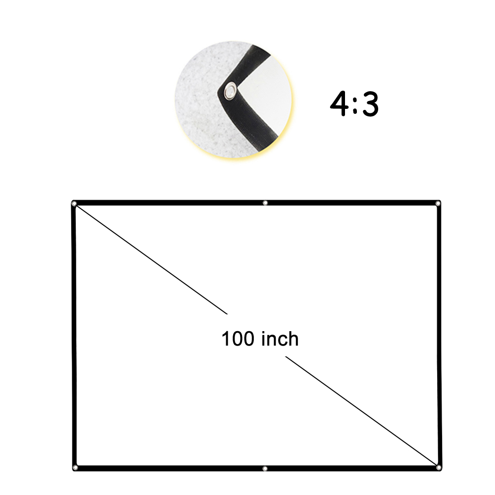 V100 Portable Projector Screen HD 4:3 White Diagonal