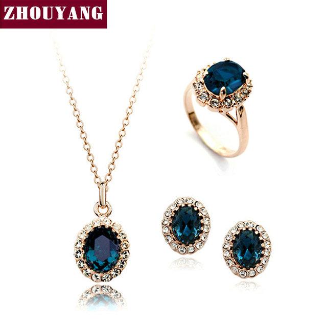 De Calidad superior ZYS110 Oro Azul de Cristal Austriaco Joyería Conjunto Con 3 Unids 1 Nicklace + 1 Anillo + 1 pendiente