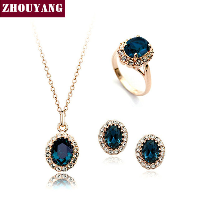 Top Quality ZYS110  Gold Plated Blue Austrian Crystal Jewelry Set  With 3 Pcs 1 Nicklace + 1 Ring+ 1 Earring