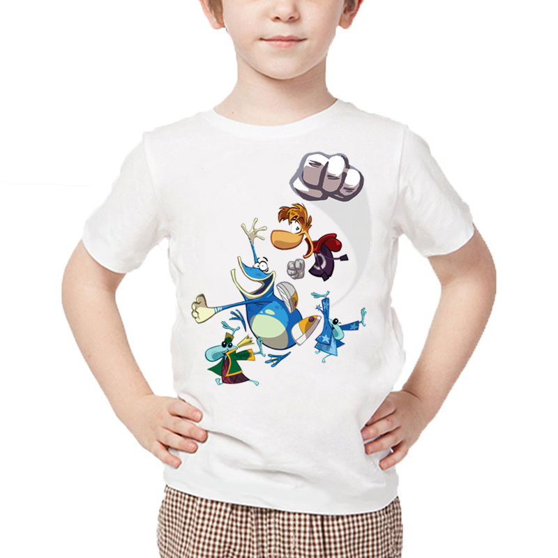 все цены на Boys Cartoon Rayman Legends Adventures Game Print T shirt Baby Girls Summer White Tops Kids Casual Funny T-shirt,HKP5204