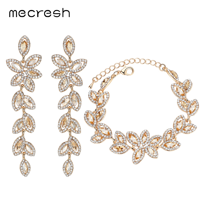 Mecresh Top Champagne Color Crystal Jewelry Sets Leaves Earrings Bracelets for Women Bridal Jewelry Sets SL046+EH282