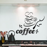 Wall Decals Coffee Cup Heart Cafe Restaurant Kitchen Vinyl Sticker Decor