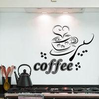 Wall Decals Coffee Cup Heart Cafe Restaurant Kitchen Vinyl Sticker Decor