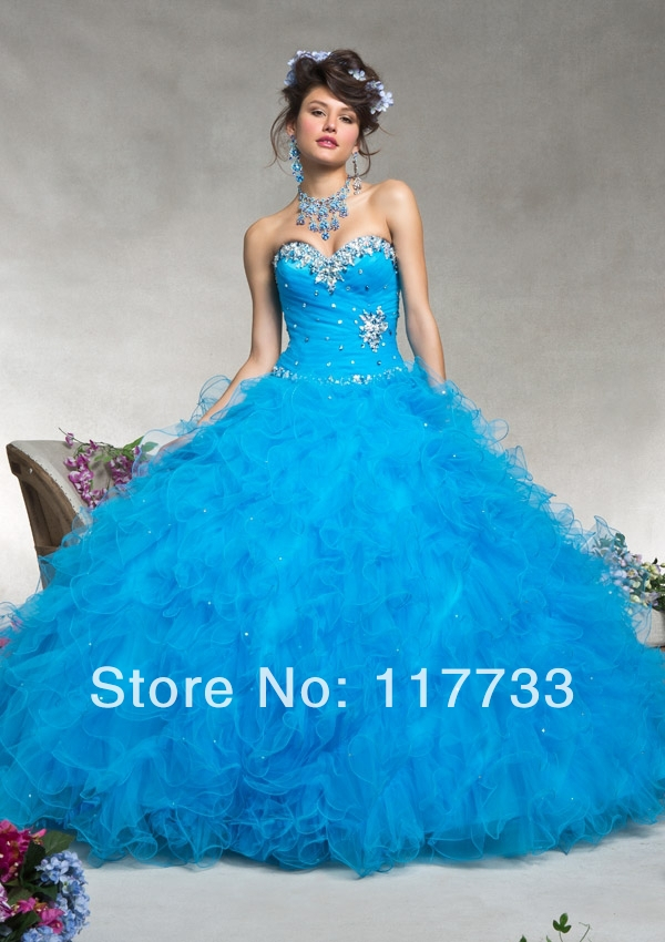 MR002 2014 Quinceanera Dresses vestidos De 15 Gala Crystal Sweet 16 Ball Gown Blue Hot Pink Free Jacket Debutante Pageant Gowns - Lana's store