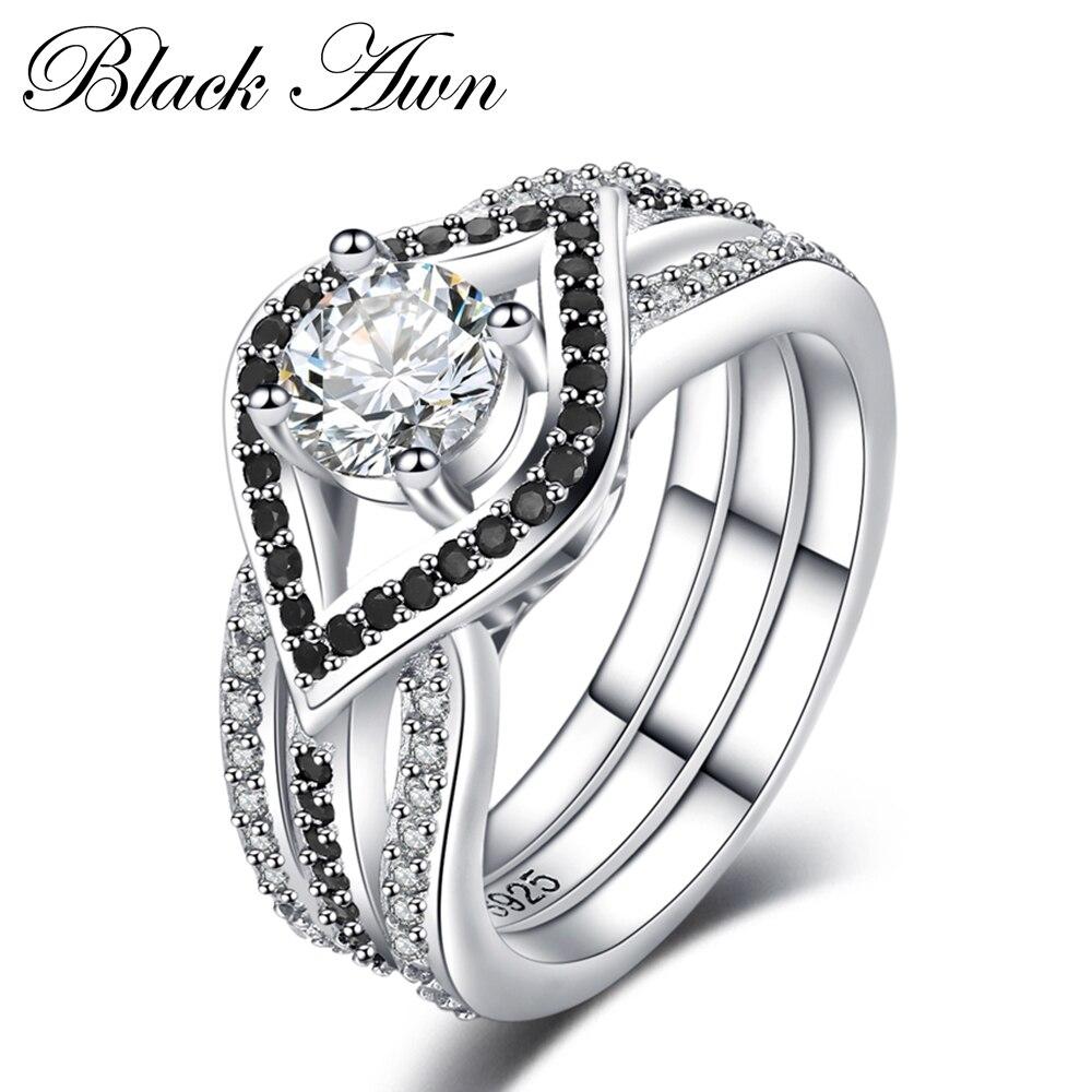 Charmes 925 Sterling Argent bijoux fins Trendy Engagement Femme Bague pour Femmes alliances Taille 6 7 8 9 10 C055 2018 nouveau