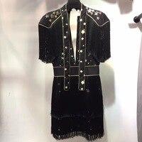 Stars Patchwork Sequins 2018 Dress Summer Party Dress Sexy V Neck Luxury Dress Tassel Shoulder Dresses