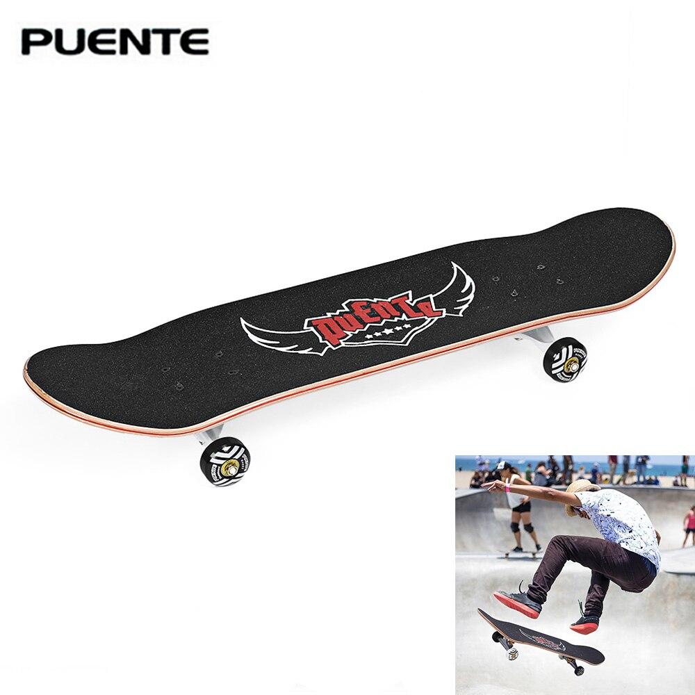 PUENTE ABEC-9 monopatín profesional para adultos doble Skateboard de arce 95A de alta resistencia Anti-choque patinete