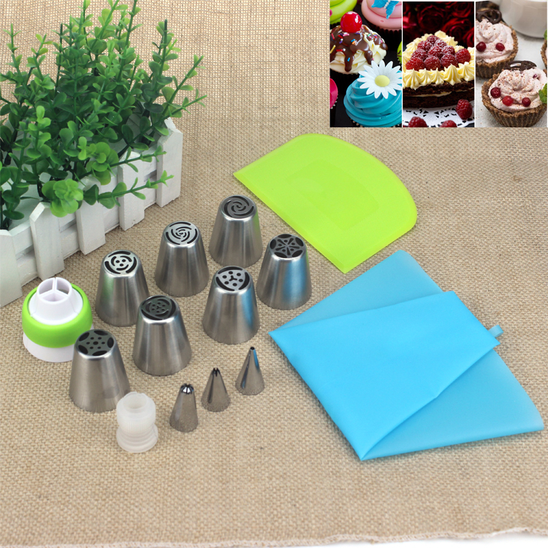 HADELI 14pcs/set Russia Nozzle Icing Piping Tips 2pcs couplers 1Pcs Silicone Bag Plastic cream scraper Cupcake Cake Decorating