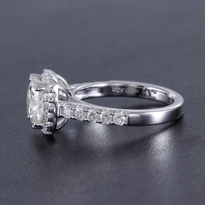 Image 3 - Doveggs Vintage Sterling Solid 925 Silve Center 2ct 7.5 Mm Kussen Cut Hi Kleur Gemaakt Moissanite Halo Engagement Ring Voor vrouwen
