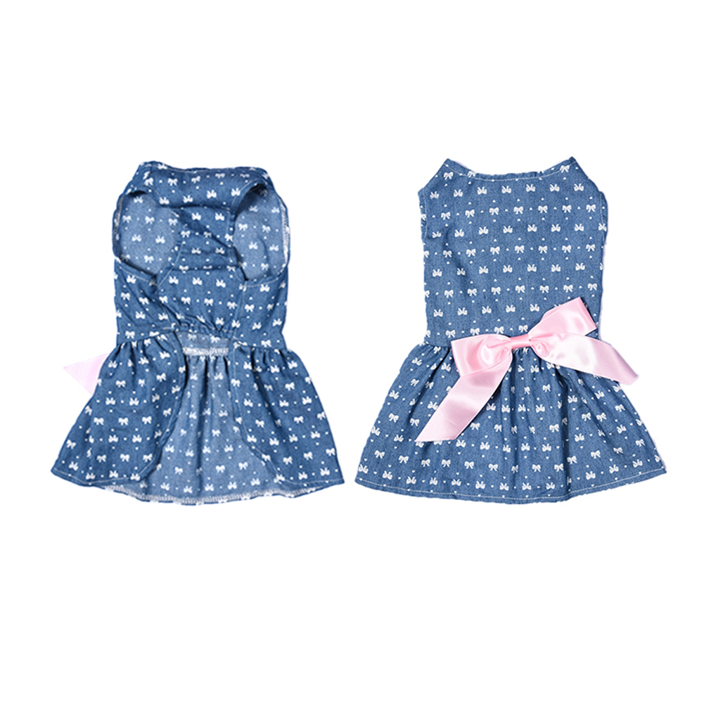 Comfortable Polyester Jeans Pet Princess <font><b>Dress</b></font> for Summer and Spring Cute Pet <font><b>Dog</b></font> Clothes with Fashionable Bowknot 1 PCS image