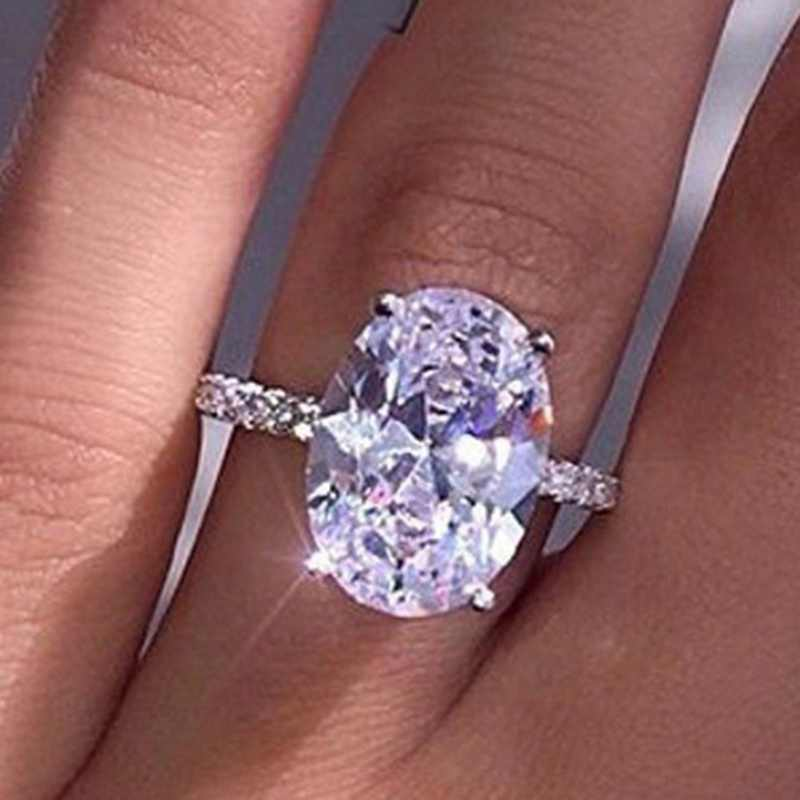 แฟชั่นคริสตัลสีขาว CZ งานแต่งงานแหวนเงินทองสีงานแต่งงานสีขาว Zircon แหวนหินเครื่องประดับ