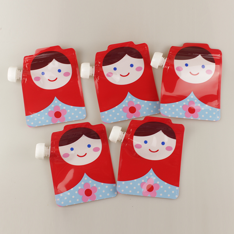 5PC Baby Beverage Water Bags Kids BMP Eco-Friendly Cartoon Lactation Reusable Food Pouch Cute Squeeze Feeding Pouches