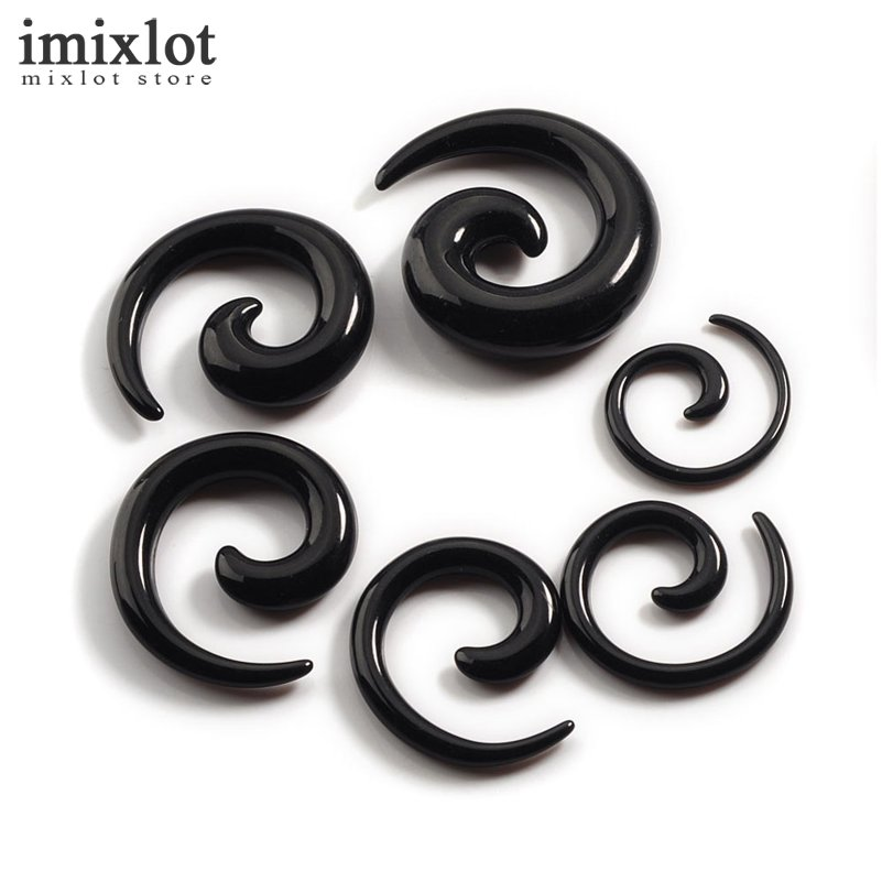 Imixlot 12pcs / set 8 couleurs Acrylique Spirale Oreille Stretching Tapers Corps Bijoux Faux Ore Tapers Faux Ore Expander Plug Tunnel Kit