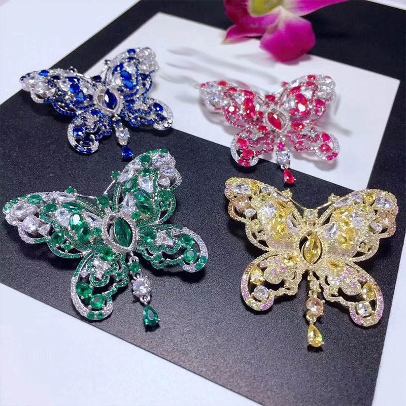 купить wow! zircon butterfly multicolor red/green /yellow/green brooch 40*46mm nature wholesale FPPJ hand make по цене 1903.93 рублей