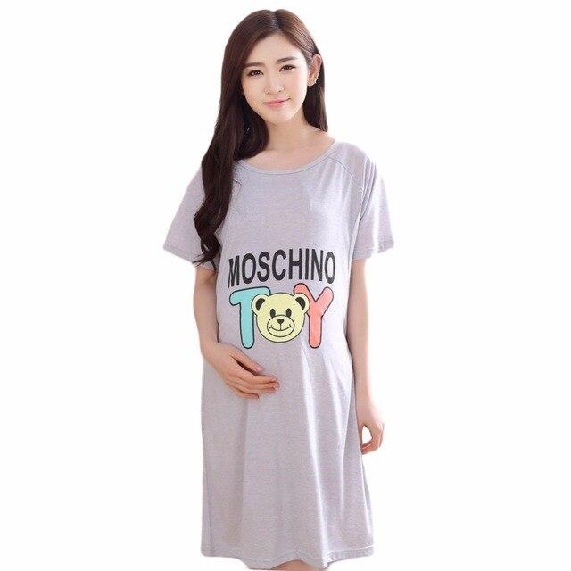 comprare popolare c5c02 4c603 US $9.62 48% di SCONTO|Pigiama maternità sleepwear pajamas maternità  vestiti per le donne incinte camicie da notte allattamento materno  magliette e ...