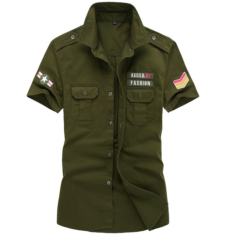 MORUANCLE Mens Flight Tactical Shirts Military Style Cargo Shirt Short Sleeve Bomber Shirts Tops With Eaulets Plus Size M-6XL