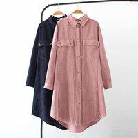 Oversized Plus Size turn down Collar Long Sleeve Blouses Women 2018 Corduroy Long Shirt Spring & Autumn Ladies Tops 4XL