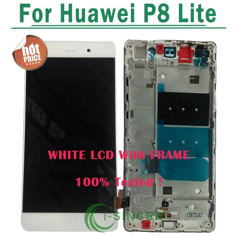 1/PCS Black,White,Gold P8 Lite LCD Display+Touch Screen Glass Panel Digitizer Assembly With frame For huawei Ascend P8 Lite