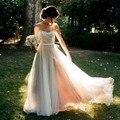 2017 Modest Illusion Sheer Lace Vestidos de Casamento Vestido De Noiva Uma Linha de Tule Andar de Comprimento vestido Bohemian Longo Backless Vestidos de Noiva