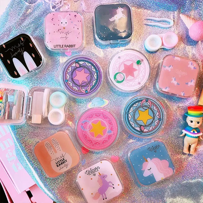 FUSKARMA Cute Cartoon Girl Heart Contact Lens Box St tudent Soft Younger Sister Glasses Box Sakura Beautiful Pupil Box Nursing