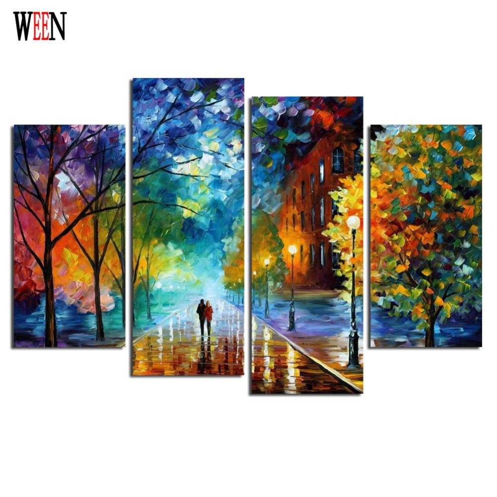 ween hd printed framed 4pc walking street canvas art wall. Black Bedroom Furniture Sets. Home Design Ideas