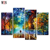 HD Printed Framed 4PC Walking Street Canvas Art Wall Pictures For Living Room Poster Directly Handed