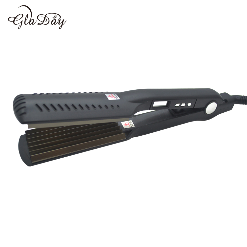 Gladay Hair Straightener Corn Hair Flat Iron Ceramic Electric straighter Chapinha Straightening Corrugated Curling Styling Tools titanium plates hair straightener lcd display straightening iron mch fast heating curling iron flat iron salon styling tools