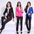 Trajes Pantalón formales para Las Mujeres Conjuntos de Ropa de Trabajo Blazer Feminino 2017 Fashion Beauty Salon Estilos Uniformes de Oficina Mujer Trajes de Pantalón
