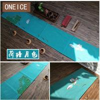 Cotton And Linen Hand Painted Zen Tea Table Lotus Plum Flax Flag Mat Accessories