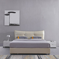 Storage leather small apartment leather double Princess solid wood modern master bed