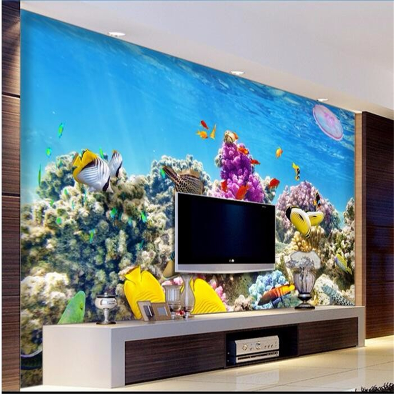 Beibehang custom mural papel de parede 3d undersea world for Aquarium mural