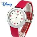 Moda menina Disney marcas meninas estudante Quartz relógios de pulso Mickey mouse mulheres relógios relogio relógios de couro impermeável