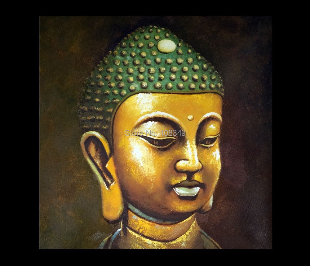 Hand painted small gold buddha buddha abstract oil for Buddha mural paintings