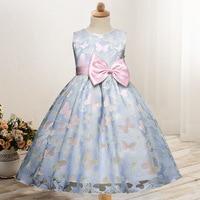 Princesa Niñas vestido sin mangas verano Niñas ropa mariposa occidental Niñas boutique ropa dulce Niñas partido vestido con arco