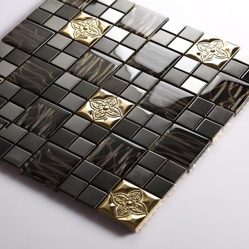 Black Metal Crystal Glass Mosaic Tile Md Bcs01 Wall Tile