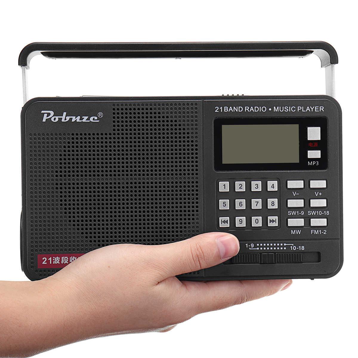 FM/MW/SW de mano bandas completas Radio LED internacional con linterna reproductor de MP3 Micro TF USB altavoz al aire libre