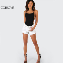 COLROVIE Strappy Backless Bodysuit Women Black Sleeveless Summer Beach Hot Bodysuits 2017 Scoop Neck Cross Slim Cami Bodysuit