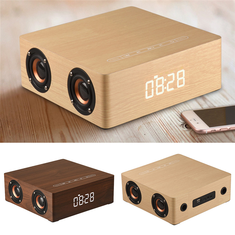Q5C Portable Retro Wooden Handsfree wireless Bluetooth Speaker Four Horn 3D Stereo Subwoofer Speaker clock dispaly TF AUX MP3 wooden bluetooth speaker wireless outdoor handsfree stereo subwoofer portable speakers 3600mah big power 10w 2 speaker
