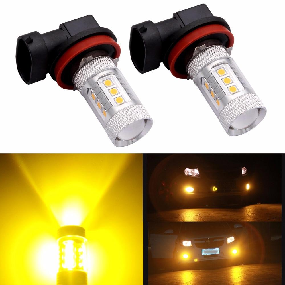 2pcs/lot H11 H8 H9 Fog Driving Light Bulb LED Bulb Amber Yellow For Auto Car fog lamp Replacement цена 2016