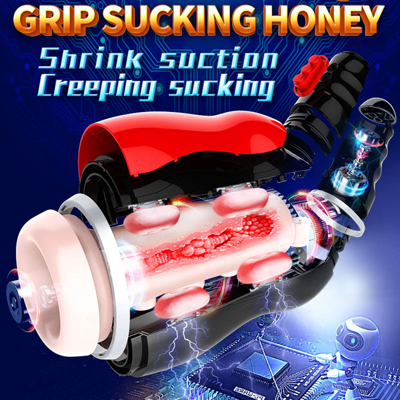 Real Oral Sucking Male Masturbator Deep Throat Heating Multi Vibration Voice Interaction 10 Modes 5 in 1 Sex Toys for Adults Men in Masturbators from Beauty Health