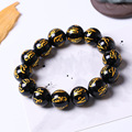 Free shipping 10mm 14mm Natural obsidian bracelets male Women fozhu transhipped apotropaic lucky