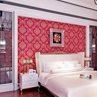 Hot Sell Private Red Flower Design Pvc Commercial Vinyl Wallpaper QZ0397
