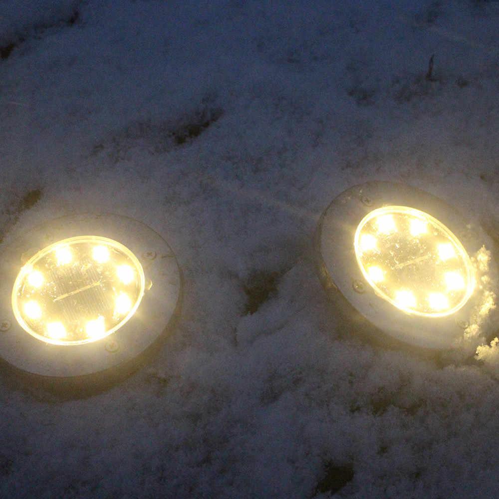 Холодный/теплый белый 8 светодиодный светильник на солнечной энергии, Заземленный свет, открытый путь, садовый настил, подземные лампы, Прямая поставка