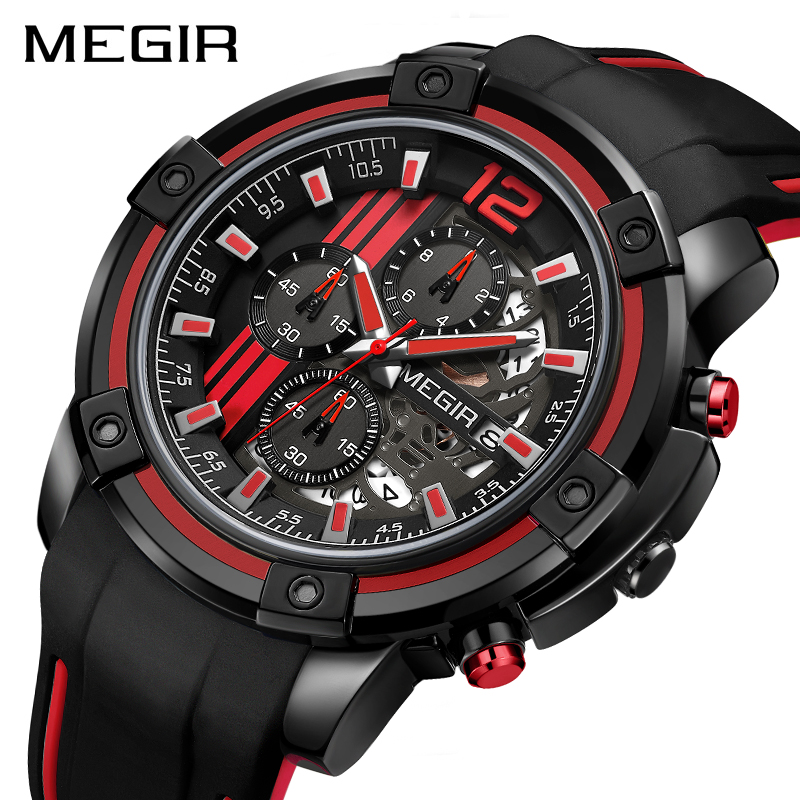 MEGIR Chronograph Mens Sport Watches With Silicone Band Big Dial Military Quartz Watch Men Clock Relogio Masculino Reloj Hombre