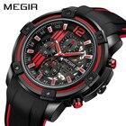 ★  MEGIR хронограф мужские спортивные часы с силиконовой лентой большой циферблат военные кварцевые час ✔
