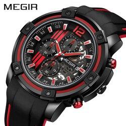 Megir chronograph masculino relógios do esporte dos homens com banda de silicone grande dial militar relógio de quartzo relógio masculino reloj hombre