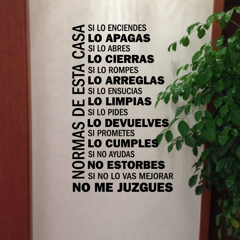 Buy spanish house rules vinyl wall decals for Home decor quotes on wall